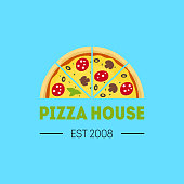 Cartoon Pizzeria Sign Color Card Poster Half Pizza Food Concept Flat Design Style Label or Badge for Your Business. Vector illustration
