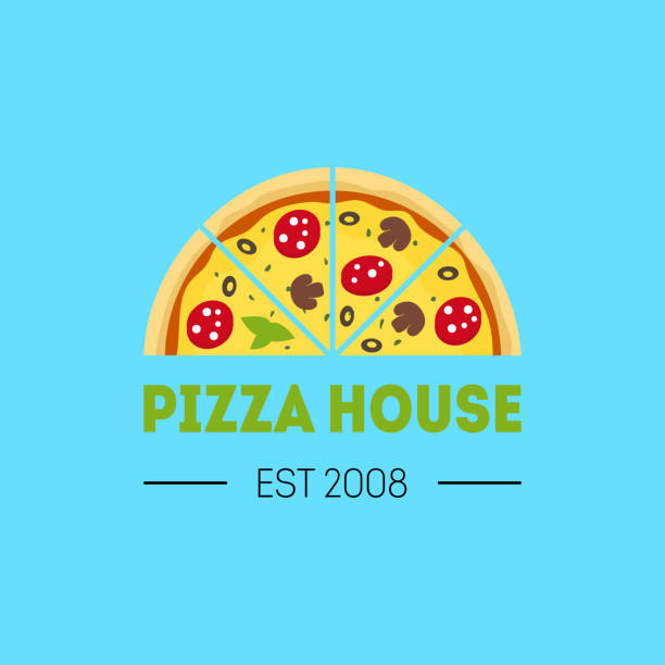 ilustraciones, imágenes clip art, dibujos animados e iconos de stock de tarjeta historieta pizzería afiche a color muestra. vector de - pizza
