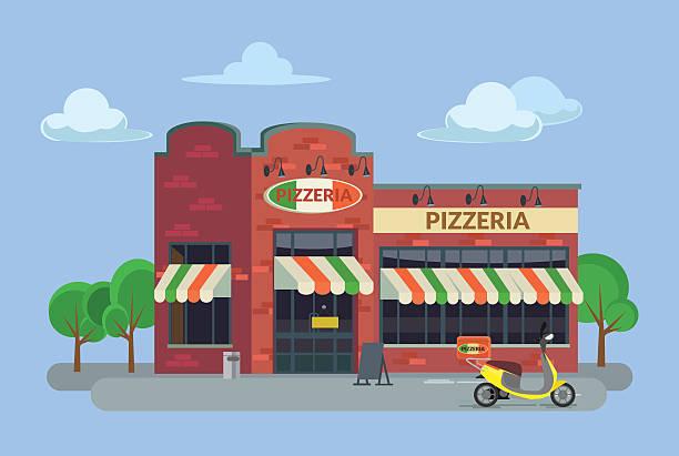comic pizzeria. vektor flache illustrationen - pizzeria stock-grafiken, -clipart, -cartoons und -symbole