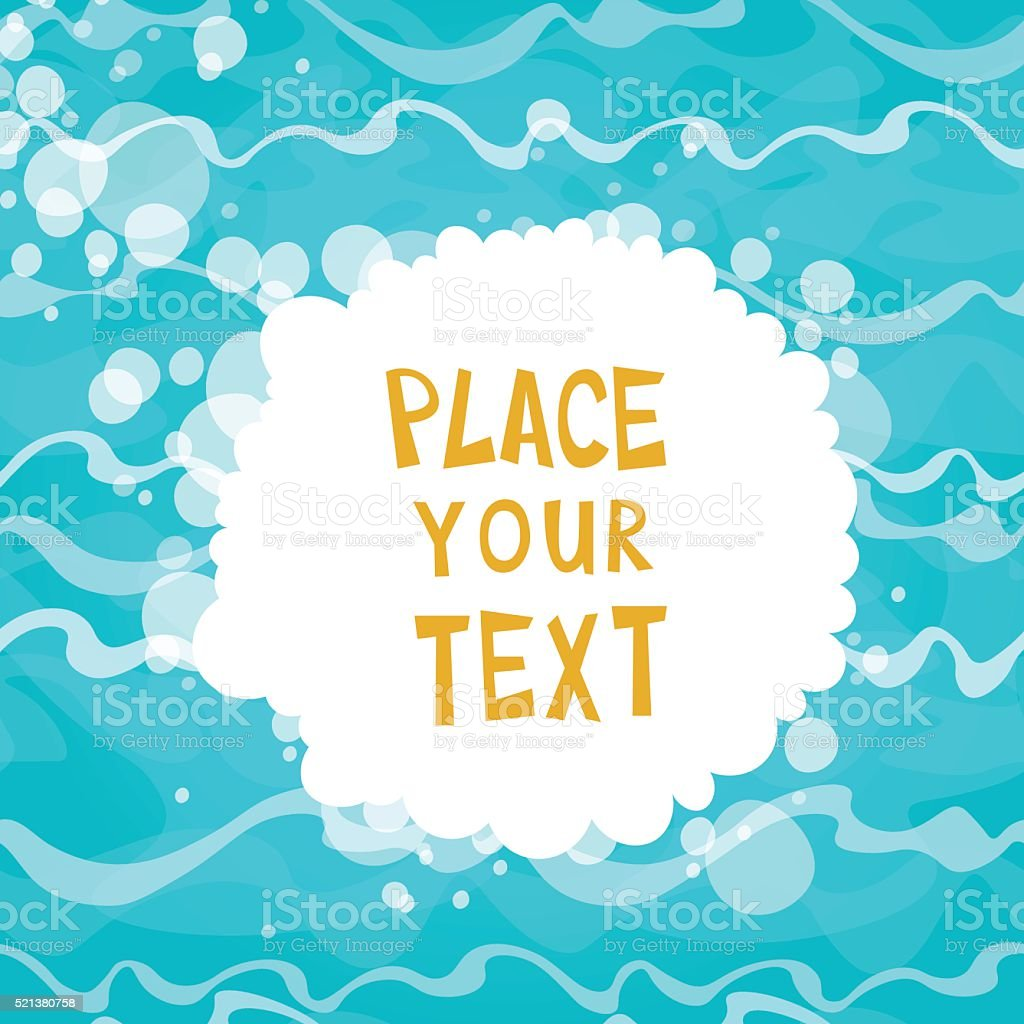 Cartoon placard on shiny blue water background with waves. vector art illustration