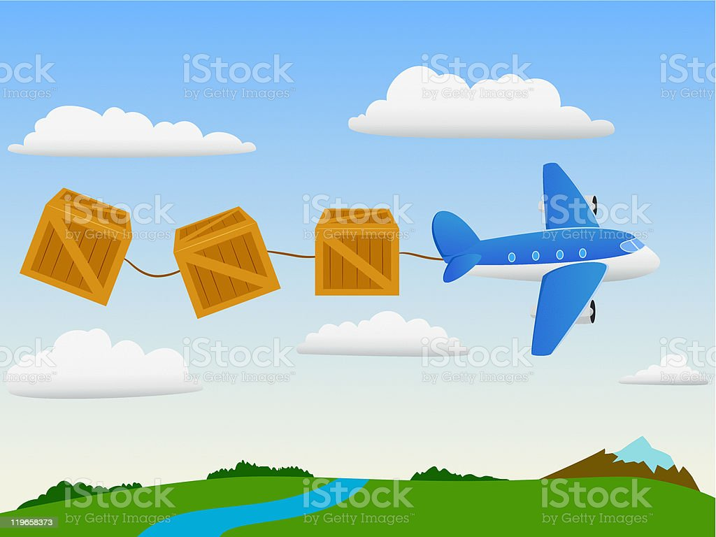 Cartoon plane in the sky with cargo wooden box royalty-free cartoon plane in the sky with cargo wooden box stock vector art & more images of air vehicle