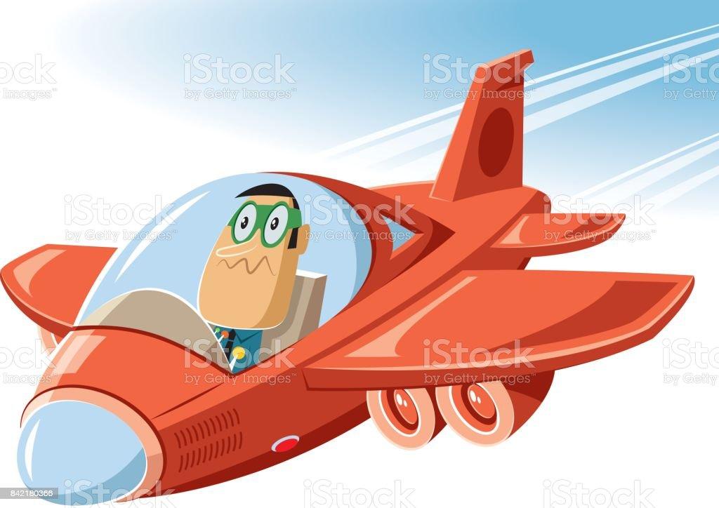 Cartoon plane vector art illustration