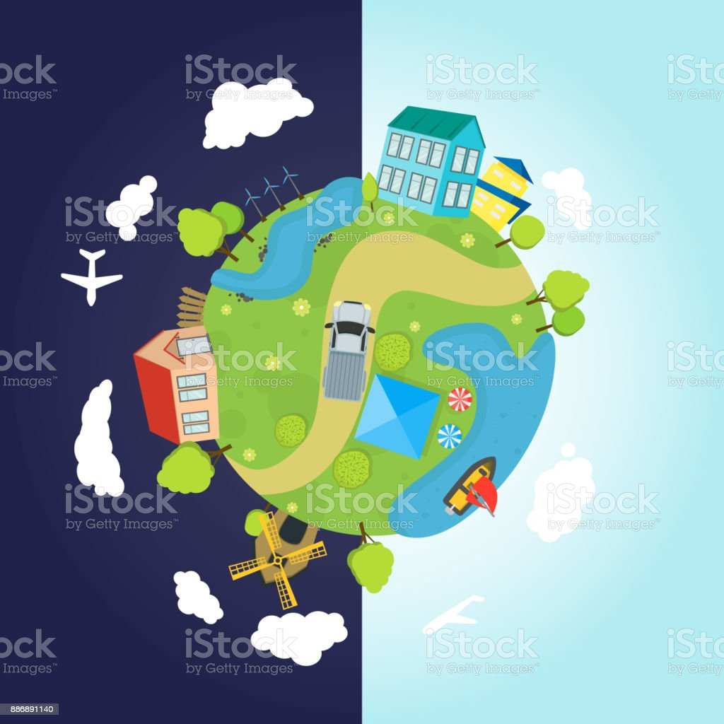 Ilustración De Dibujos Animados Planeta Tierra Con Casas Océano