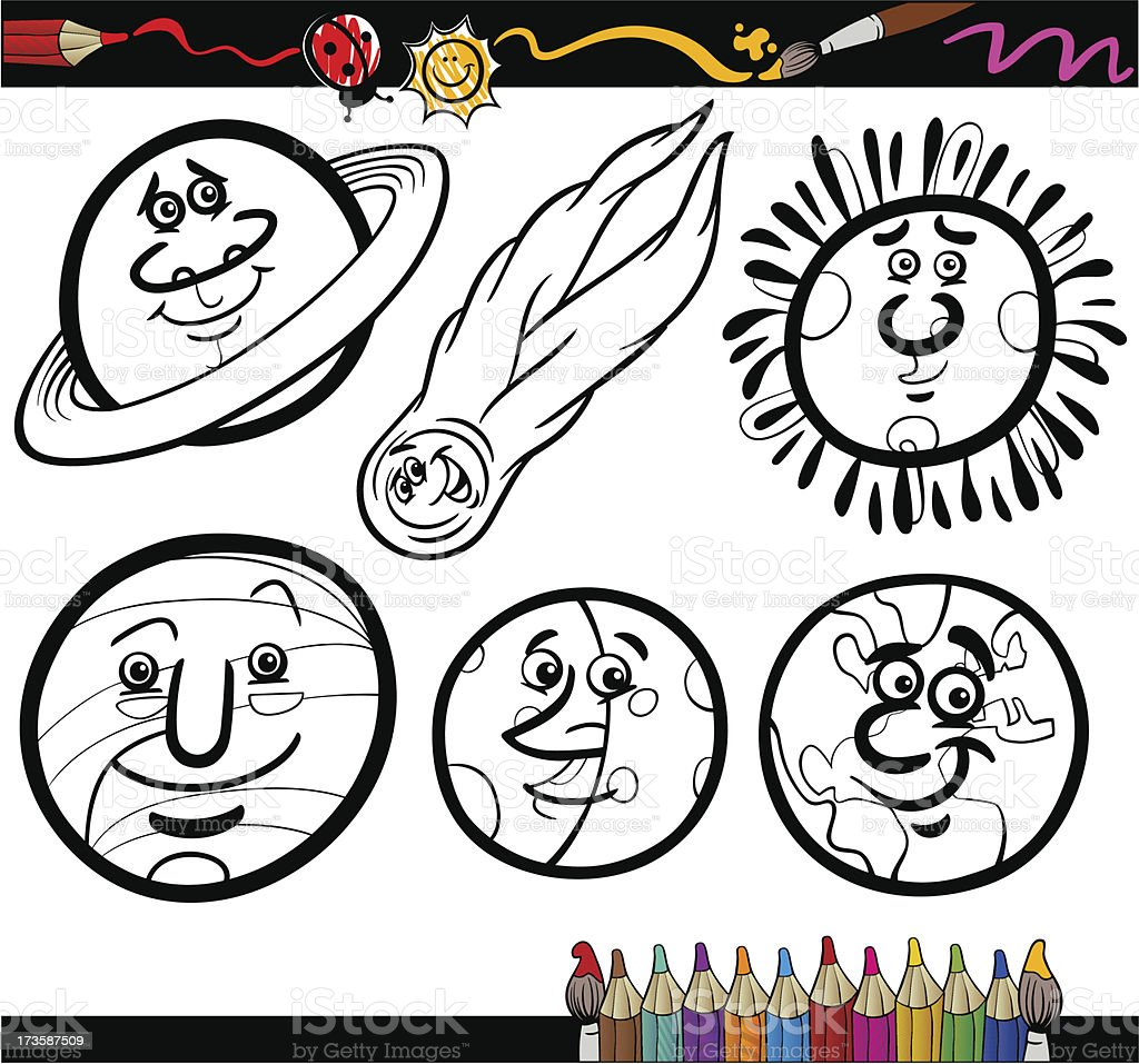 Cartoon Planets and Orbs coloring page royalty-free cartoon planets and orbs coloring page stock vector art & more images of astrology