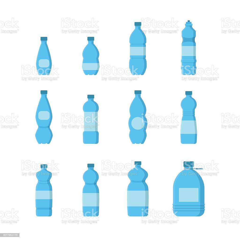 Cartoon Plastic Blue Bottles for Water Set. Vector vector art illustration
