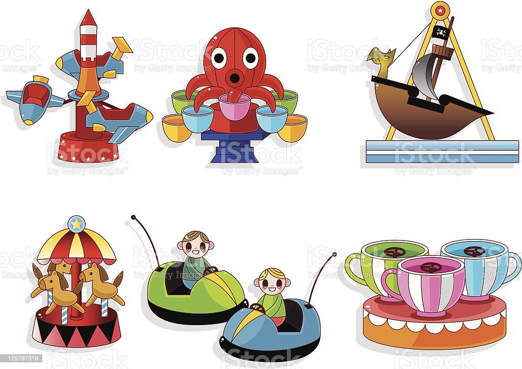 Iconos de dibujos animados patio de juegos - ilustración de arte vectorial