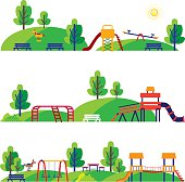 Vector Illustration of a colored, funny and cute cartoon playground