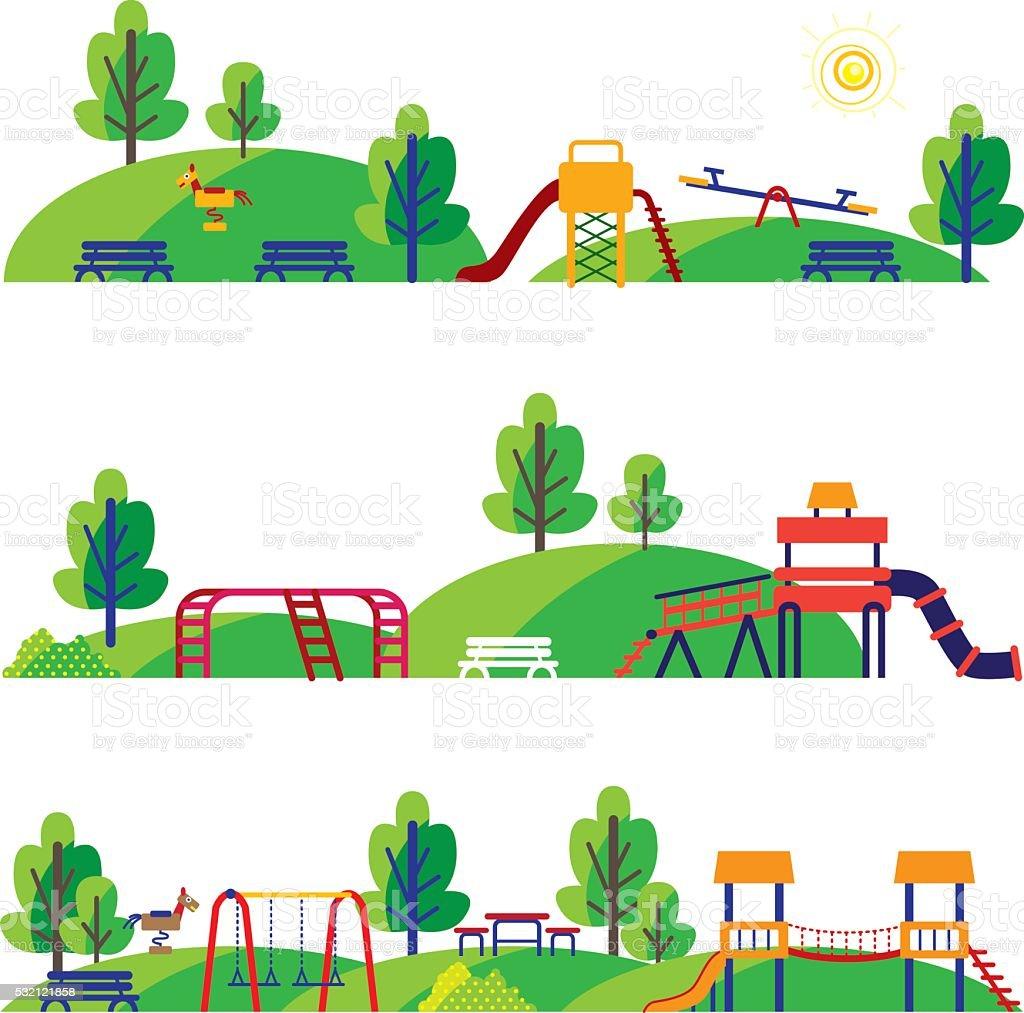 Historieta patio de juegos - ilustración de arte vectorial