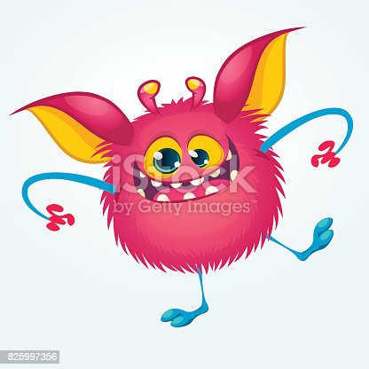 istock Cartoon pleased funny monster dancing. Halloween vector illustration 825997356