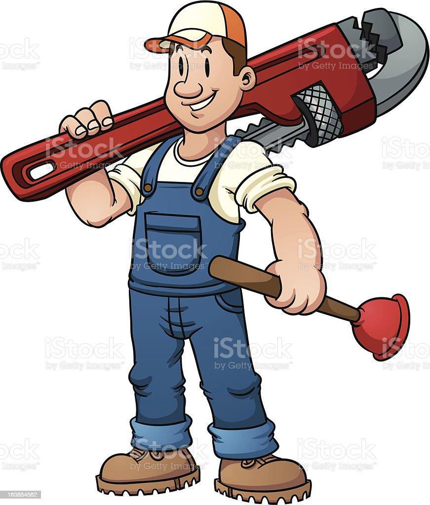 Cartoon plumber vector art illustration