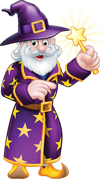 cartoon pointing wizard - old man long beard drawing stock illustrations, clip art, cartoons, & icons