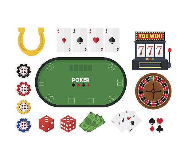 cartoon poker set. vector - tischarrangements stock-grafiken, -clipart, -cartoons und -symbole
