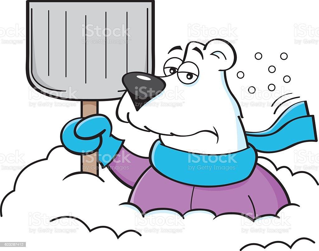 cartoon polar bear holding a snow shovel stock vector art more