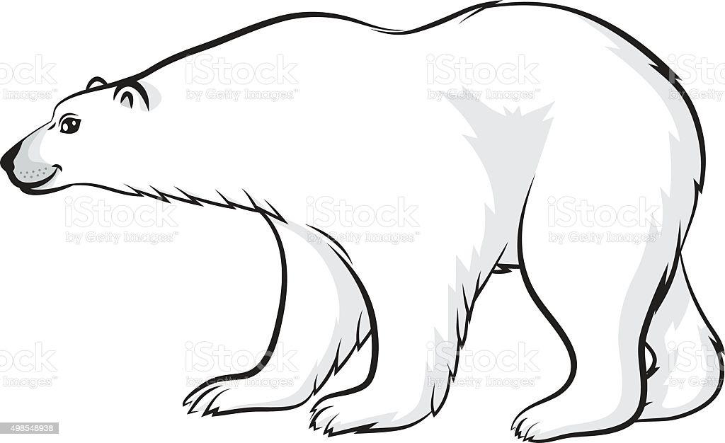 Cartoon polar bear vector art illustration