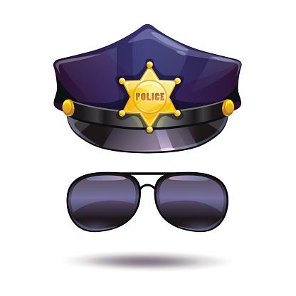 Cartoon police cap and cops sunglasses.
