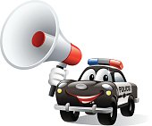 - cartoon illustration of police car holding megaphone