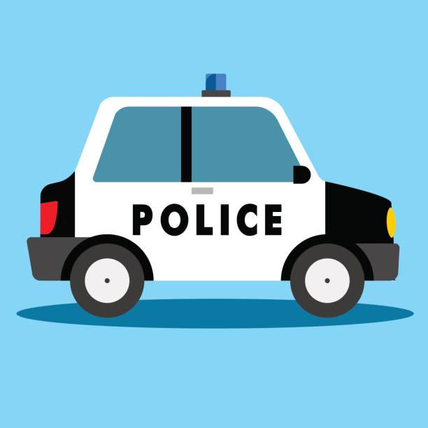 Cartoon Police Car in flat Sytle Police car in flat design  in blue background police car stock illustrations