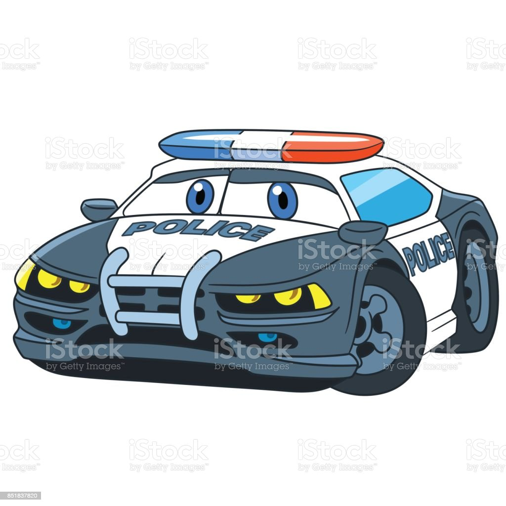 Cartoon police car vector art illustration