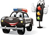 - cartoon illustration of police car with traffic light