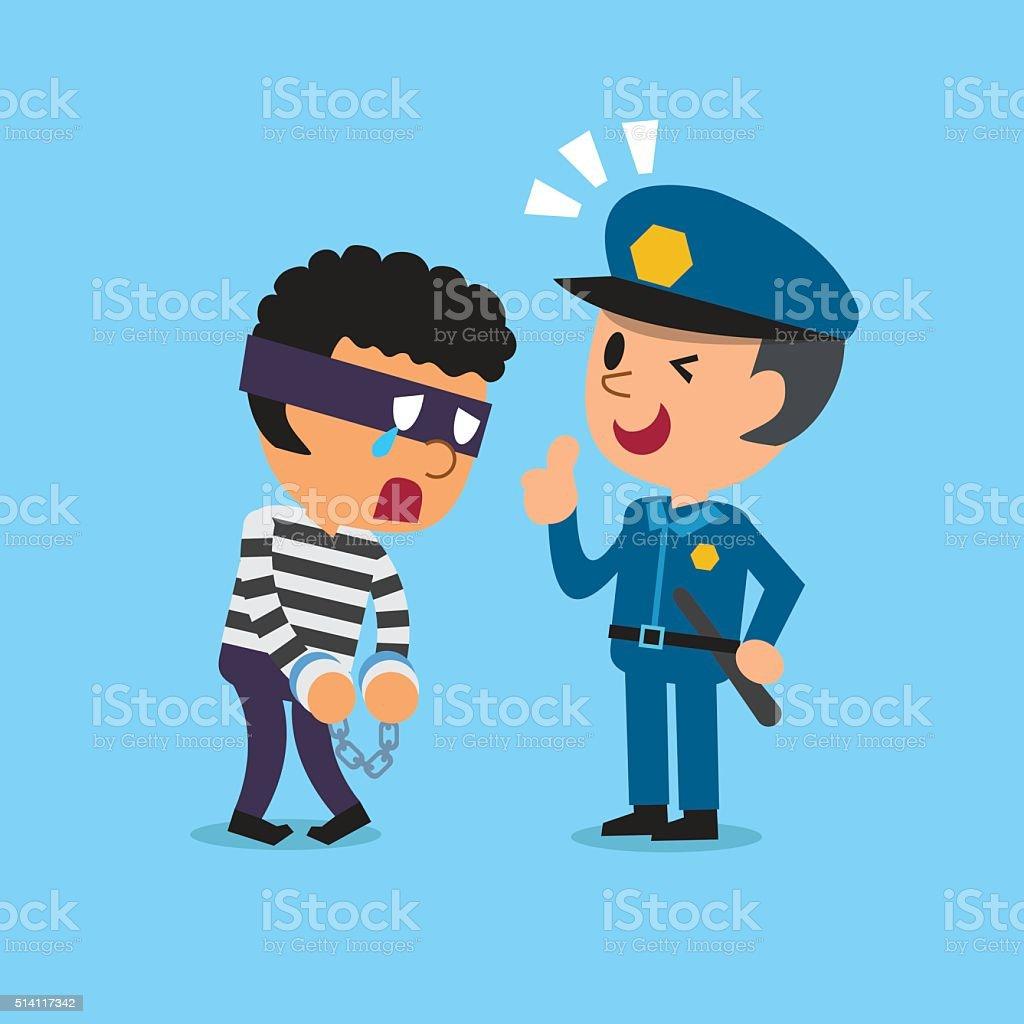 Cartoon policeman and thief vector art illustration