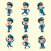 Cartoon policeman character poses on yellow background for design.