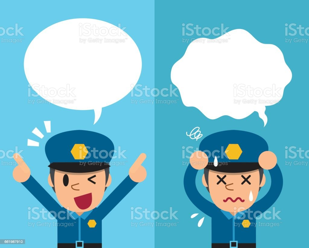 Cartoon policeman expressing different emotions with speech bubbles royalty-free cartoon policeman expressing different emotions with speech bubbles stock vector art & more images of adult