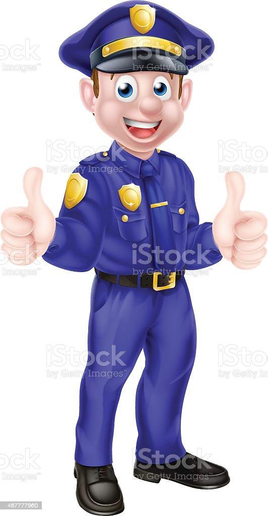 Cartoon Policeman Giving Thumbs Up vector art illustration