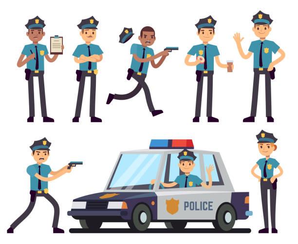 Cartoon policewoman and policeman characters in police uniform vector set Cartoon policewoman and policeman characters in police uniform vector set. Police officer character, cop in hat illustration military uniform stock illustrations