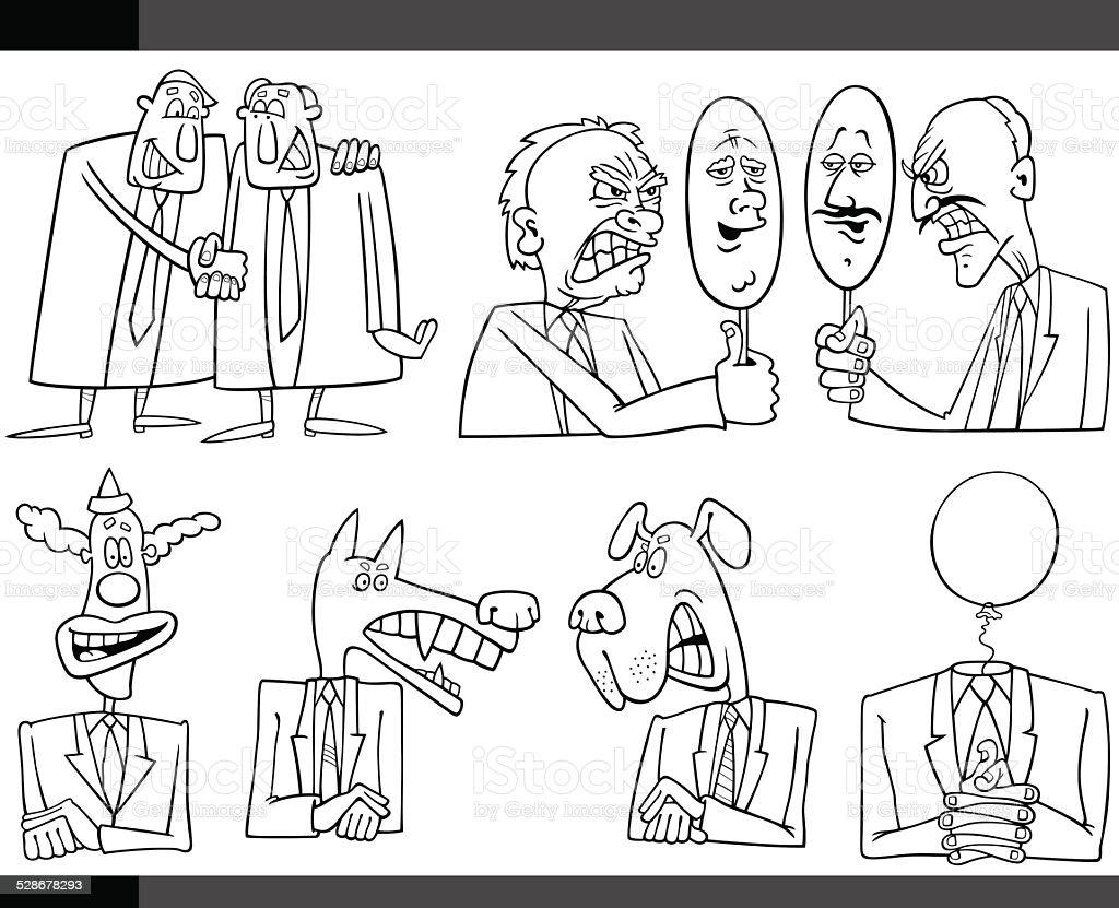 cartoon politics concepts set vector art illustration