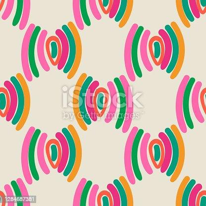 Polka dot desenho animado padrão geométrico geométrico perfeito. Fundo geotétil. Papel de embrulho infinito fantasia com diferentes formas. Textura criativa. Ilustração vetorial.