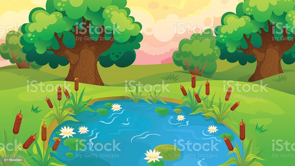 Cartoon Pond Near The Forest vector art illustration