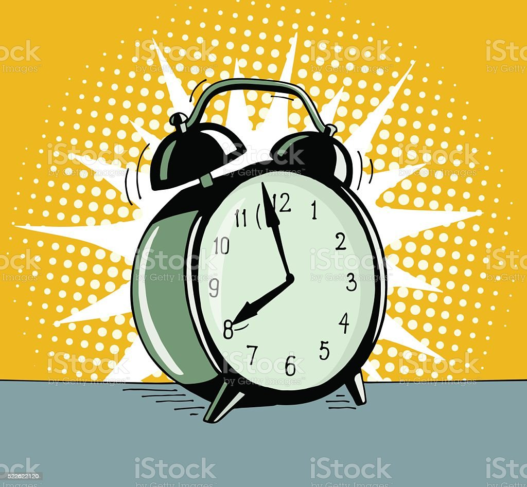 Cartoon pop art alarm clock. vector art illustration