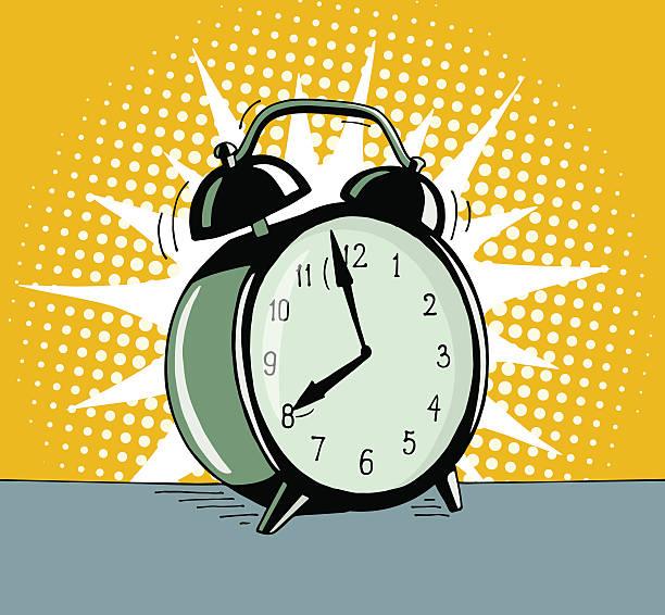 Cartoon pop art alarm clock. vector art illustration
