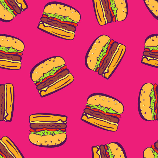 Cartoon pop art bright hamburgers on pink pattern Cartoon colorful bright outline hamburgers on pink background, seamless pattern. Comic flat pop art girls burger texture for fast food textile, wrapping paper, package, restaurant or cafe menu banners female sandwich stock illustrations