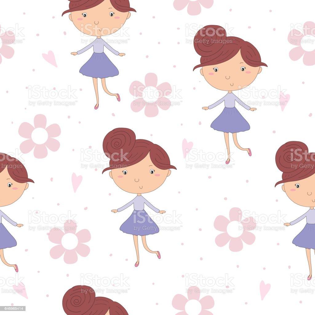 Ilustración de Dibujos Animados Positivo De Patrones Sin Fisuras Con ...