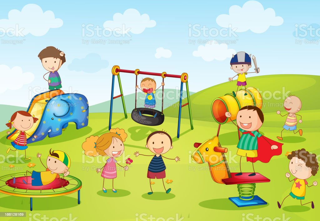 Cartoon poster of kids playgrounds vector art illustration