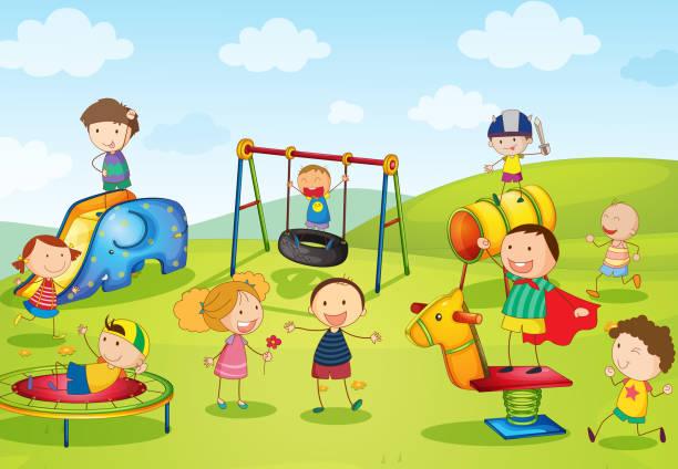 Cartoon poster of kids playgrounds vector art illustration