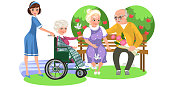 Cartoon poster of nurse and old lady in wheelchair