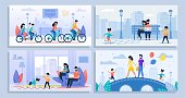 Cartoon Poster Set. Various Family Activities at Home, Outdoors. Happy Parents and Children on Walk, Ride Bicycles, Play Games. Mother, Father, Son, Daughter. Leisure, Sport. Vector Flat Illustration
