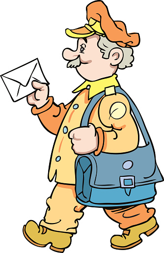 Cartoon postman holding mail and bag