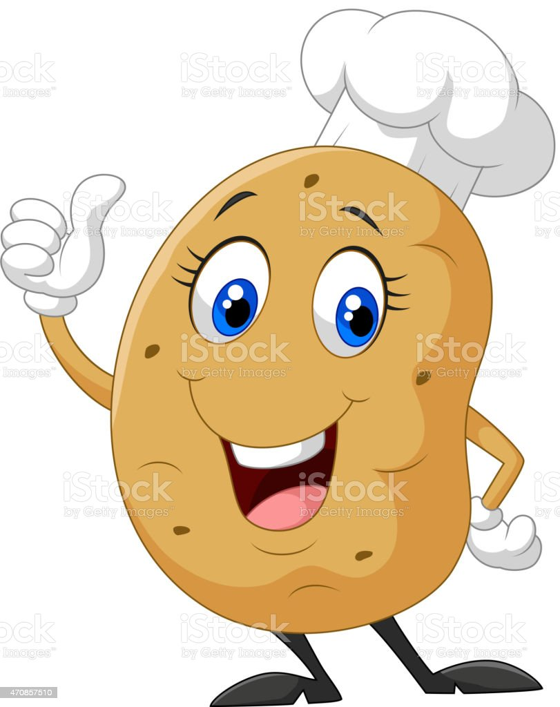 Cartoon potato giving thumb up vector art illustration