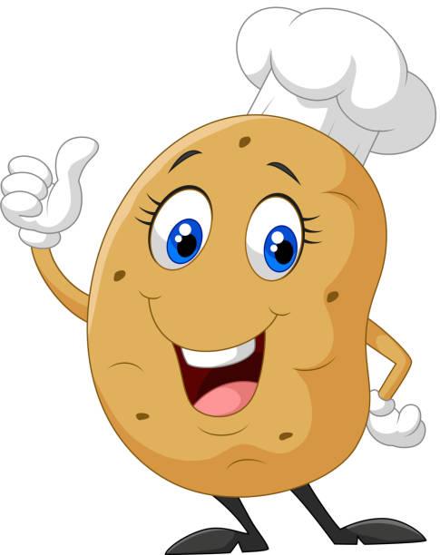 cartoon kartoffeln geben daumen nach oben - kartoffeln stock-grafiken, -clipart, -cartoons und -symbole