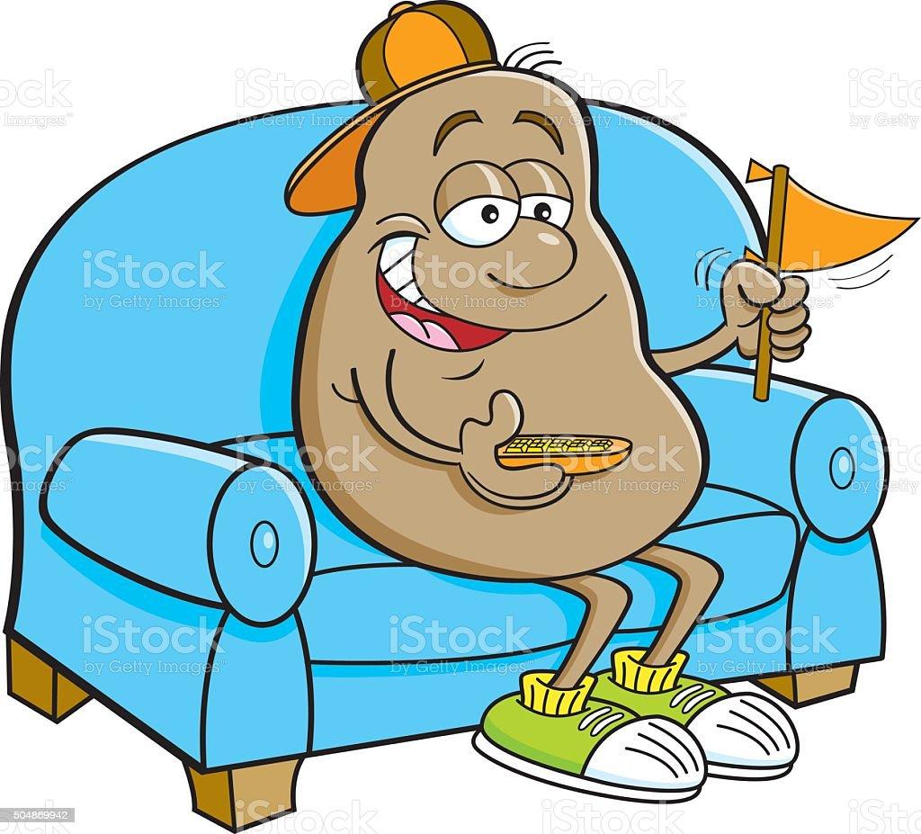 dessin animé pomme de terre assis sur un canapé – cliparts