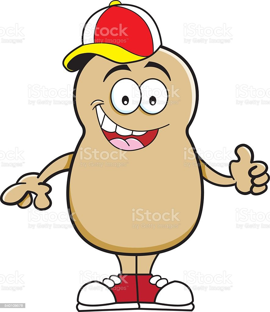 Cartoon potato wearing a baseball cap. vector art illustration