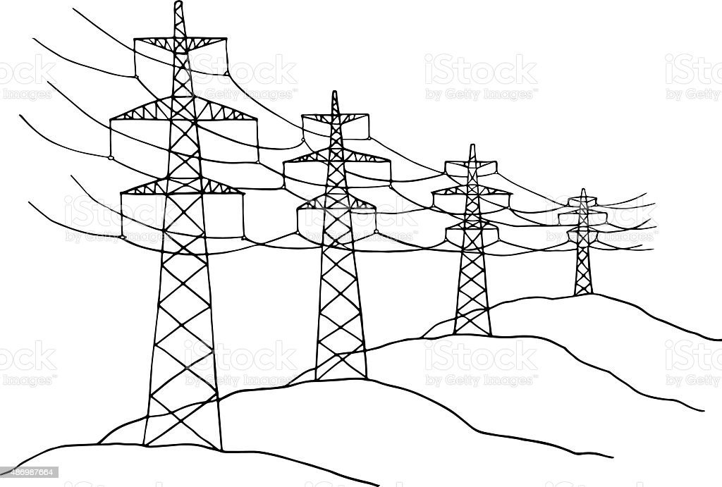 cartoon power lines stock vector art 486987664