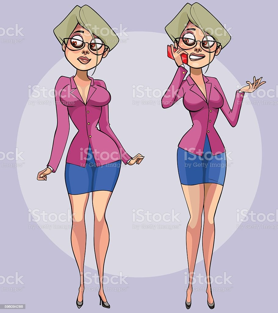 cartoon pretty female office worker with a smartphone in hand royalty-free cartoon pretty female office worker with a smartphone in hand stock vector art & more images of adult