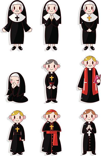 ilustraciones, imágenes clip art, dibujos animados e iconos de stock de sacerdote y monja de historieta icono de - hermana