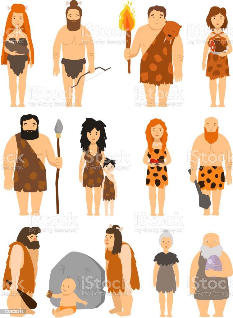 Cartoon primitive people character set vector protoman neanderthal caveman primeval family evolution illustration vector art illustration
