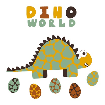 Cartoon print with spotted dinosaur, eggs and lettering vector illustration