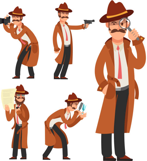 Cartoon private detective. Police inspector vector character set Cartoon private detective. Police inspector vector character set. Police detective and inspector cartoon character illustration detective stock illustrations